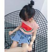 女童無袖白色短袖T恤洋氣背心韓版