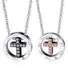 《 QBOX 》FASHION 飾品【C19N1491】精緻情侶簡約圓環十字架鑲鑽鈦鋼對墬子項鍊