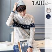 針織毛衣‧線條拼接混色圓領針織毛衣‧二色【NQ50099】-TAIJI-