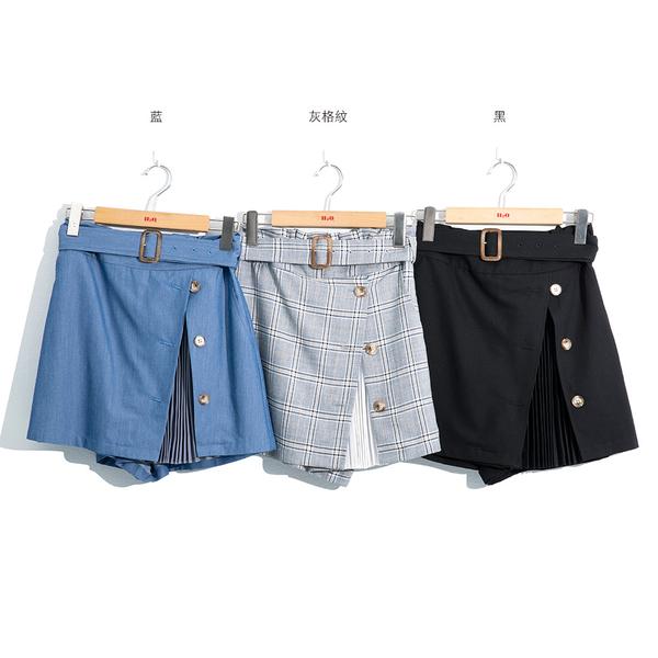 春夏7折[H2O]前側開衩拼接壓褶雪紡短褲裙 - 藍/黑/灰格紋色 #0678006