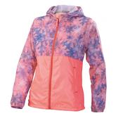 Mizuno [32TE678251] 女款 運動 休閒 輕薄 風衣 拉鍊 連帽 外套 防風 保暖 刷毛 粉紫