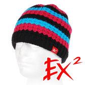 EX2 中性 條紋針織帽-藍紅 352359 針織帽 造型帽 毛帽 毛線帽 帽子 禦寒 防寒 保暖