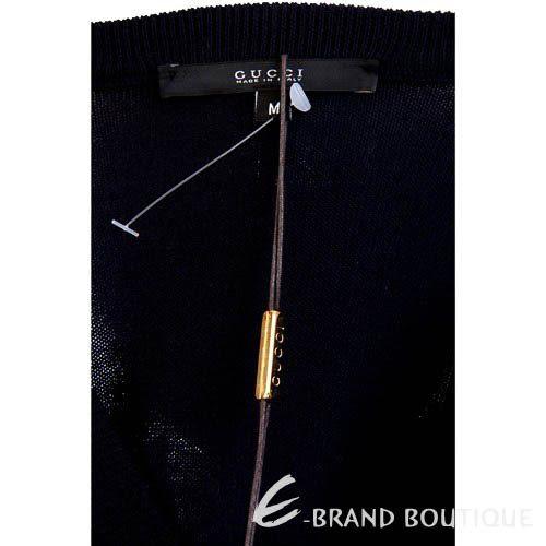 GUCCI 經典條紋飾V領針織上衣(深藍色) 1310395-34