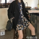 秋裝2019新款復古港風寬鬆黑色時尚長袖西裝外套女裝洋氣套裝ins 夢想生活家