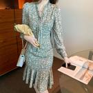 洋裝 V領碎花顯瘦魚尾連身裙-媚儷香檳-【FD0058】