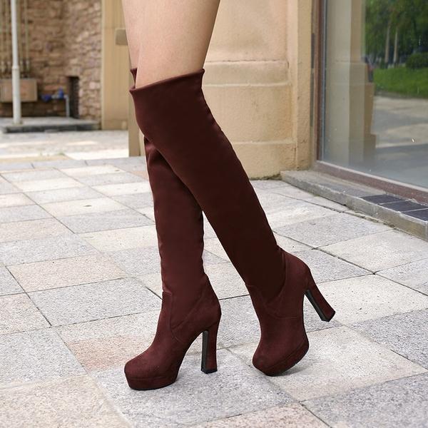 膝上靴 秋冬季女靴 過膝長靴子女 超高跟彈力靴 防水台粗跟套筒騎士靴 店慶降價