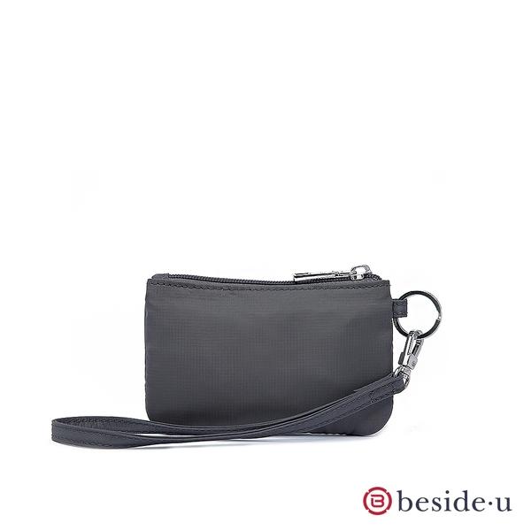 beside u BNUAS 素面手拿包卡片夾零錢包隨身包附手腕帶-鐵灰色 原廠公司貨