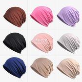 包頭帽全棉產婦月子套頭帽子男女純色化療頭巾帽子  伊莎公主