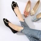 單鞋女韓版黑色尖頭平底鞋低跟瓢鞋百搭淺口淑女鞋子 安妮塔小铺