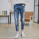 夏季牛仔褲男青少年小腳修身九分褲