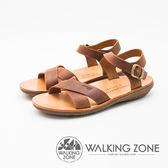 WALKING ZONE 質感皮革寬帶扣環涼鞋 女鞋-咖(另有黑)