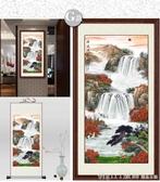 山水畫國畫字畫客廳掛畫聚寶盆風水靠山圖 山水畫絲綢捲軸裝飾畫  YTL