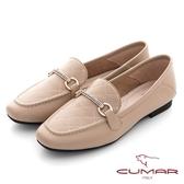 【CUMAR】復刻車格鑽飾方頭樂福平底鞋(杏色)