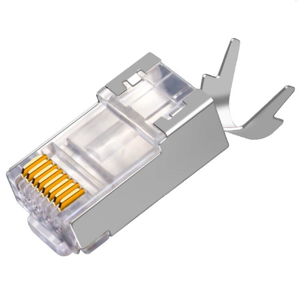 【世明國際】超六類尾夾水晶頭CAT6A萬兆屏蔽電腦網路線RJ45連接頭屏蔽銅殼兩件式 RJ9水晶頭