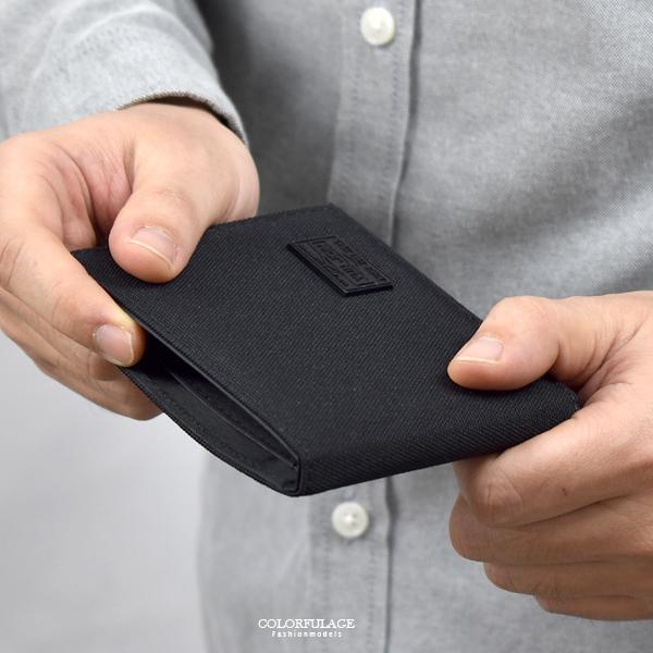 尼龍短夾 低調黑橫式休閒皮夾NWB4