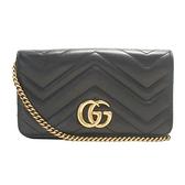 GUCCI 古馳 GG Marmont Mini Bag 黑色人字形牛皮金釦肩背包 488426【BRAND OFF】