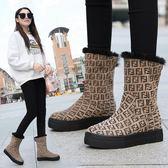 店長推薦豹紋雪地靴女2019新款冬季加厚保暖一腳蹬棉鞋短筒防滑厚底棉靴子