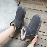 雪地靴女冬2019新款時尚棉靴短筒加絨保暖低幫面包鞋中筒雪地棉鞋