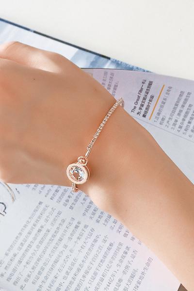 Qmishop 日韓版百搭閃亮水晶水鑽圓鋯石手鐲甜美手鍊手飾手環【G2133】