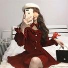 年會禮服 春新款女過年紅色套裝拜年金絲絨年會禮服新年戰裙連衣裙【快速出貨八折搶購】