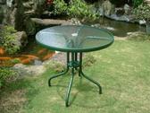 BROTHER 兄弟牌80cm玻璃庭園桌(綠色框)