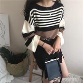 秋季女裝韓版學院風寬鬆撞色條紋圓領套頭毛衣學生長袖針織衫上衣 樂芙美鞋