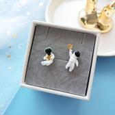 耳環 星星 太空人 可愛 卡通 不對稱 耳釘 耳環【DD1807103】 BOBI  10/18