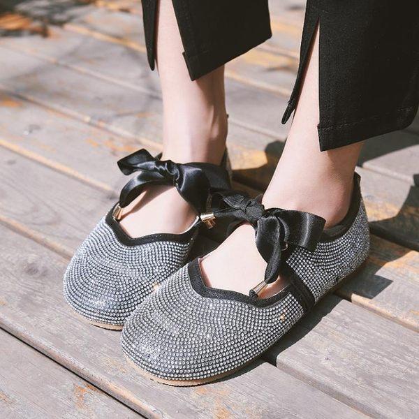 娃娃鞋2019春夏季新款韓版蝴蝶結水鑽豆豆鞋軟底奶奶鞋學生娃娃鞋女單鞋 萊俐亞