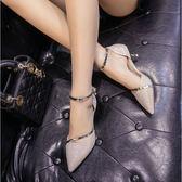 新款女高跟鞋 尖頭淺口中跟細跟單鞋一字扣水鑽低跟3cm婚鞋潮