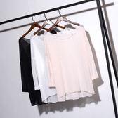 新年鉅惠胖mm春季正韓素面簡約空調衫上衣大尺碼超薄中長版寬鬆長版衛衣T恤