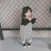 韓版男女童 經典厚實條紋吊帶褲兒童寬鬆連體褲寶寶休閒吊帶褲377 【雙十二狂歡】