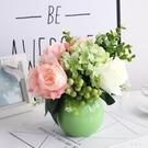 唯美可愛清新臺面陶瓷花瓶玫瑰繡球漿果尤加利仿真花桌面茶幾擺件 LJ439【極致男人】