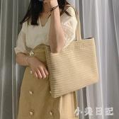 夏季大容量手提包包女2020新款潮韓版百搭少女單肩包沙灘包草編包 快速出貨『小美日記』