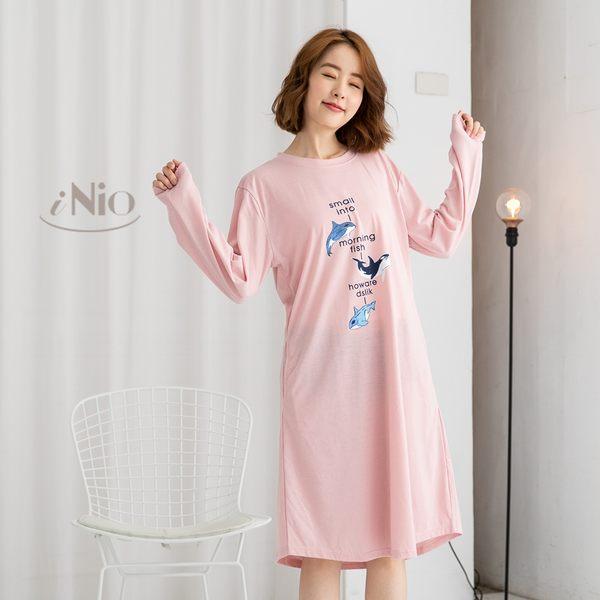 純棉長袖睡裙洋裝可外穿家居服-小海豚(S-L適穿)★ 現貨快出【C8W6011】 iNio 衣著美學