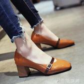 方頭瑪麗珍鞋粗跟單鞋女春季女鞋新款百搭韓版高跟鞋淺口鞋子   伊鞋本鋪
