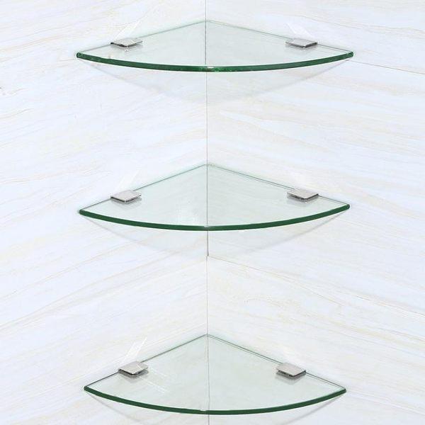 浴室置物架-衛生間三角壁掛浴室五金掛件玻璃角架衛浴雙層三角形置物架 第六空間