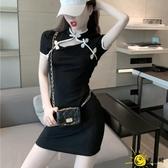 改良式旗袍 2020夏季新款復古民國風版性感緊身黑色法桔梗連身裙女洋裝