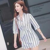 EASON SHOP(GU5197)黑白豎條紋襯衫裙大碼中長款長版連身裙洋裝女裝圓領短袖襯衫女上衣服韓版寬鬆