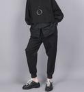 工裝褲鬆緊腰口袋黑色寬鬆休閒九分褲子/設計家