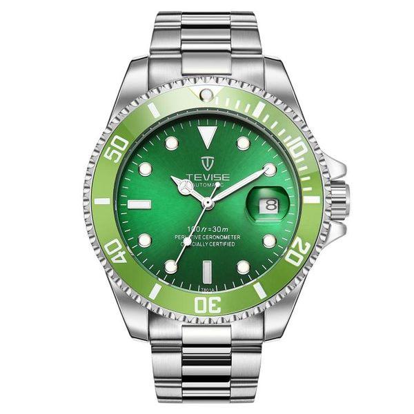 全自動機械男錶 運動精鋼帶皮帶夜光防水學生大錶盤綠水鬼手錶鏤空【萬聖節推薦】
