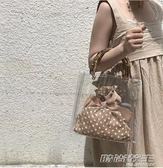 包包女夏季新款竹節手腕透明包女簡約百搭韓風度假pvc果凍包  时尚教主