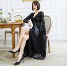 大尺碼洋裝 L-5XL小禮服蕾絲長袖顯瘦俏麗連衣裙 #wm1062 @卡樂@