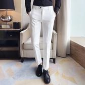 純白色休閒西褲男士修身小腳褲彈力抗皺西裝褲韓版休閒長褲子男褲 格蘭小舖