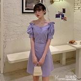 露背洋装 夏季2021新款韓版紫色顯瘦法式桔梗裙小心機露背蝴蝶結洋裝女裝