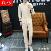 棉麻套裝男士長袖男t恤新款男裝個性潮流修身上衣體恤兩件套 QQ19790『東京衣社』