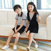 圓領條紋荷葉袖背心裙親子裝套裝(小孩)