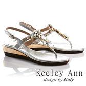 ★2017春夏★Keeley Ann閃耀時刻~奢華水晶鑽綻放平底T字夾腳涼鞋(銀色)