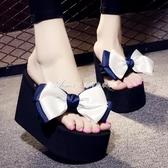 夏季超高跟人字拖女士拖鞋蝴蝶結增高厚底防滑沙灘鞋11厘米涼拖鞋 艾美时尚衣橱