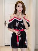 很仙的套裝法國小眾連衣裙2020一字肩吊帶裙女夏性感裙子夜店女裝