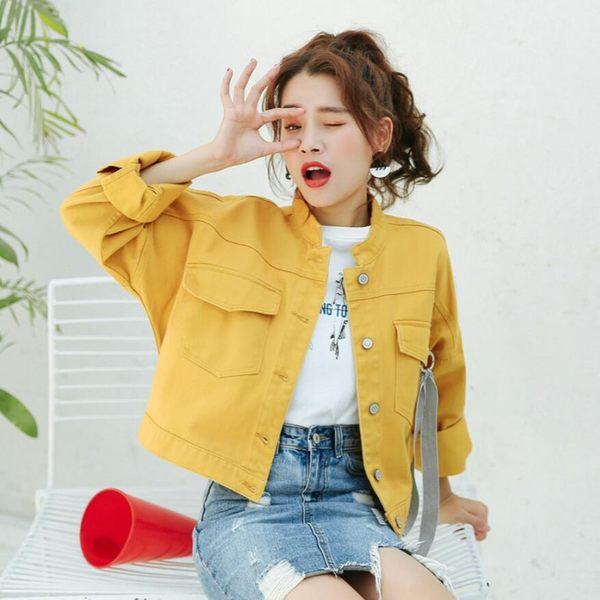 牛仔外套 韓版 小清新學院風糖果色棒球夾克 花漾小姐【預購】